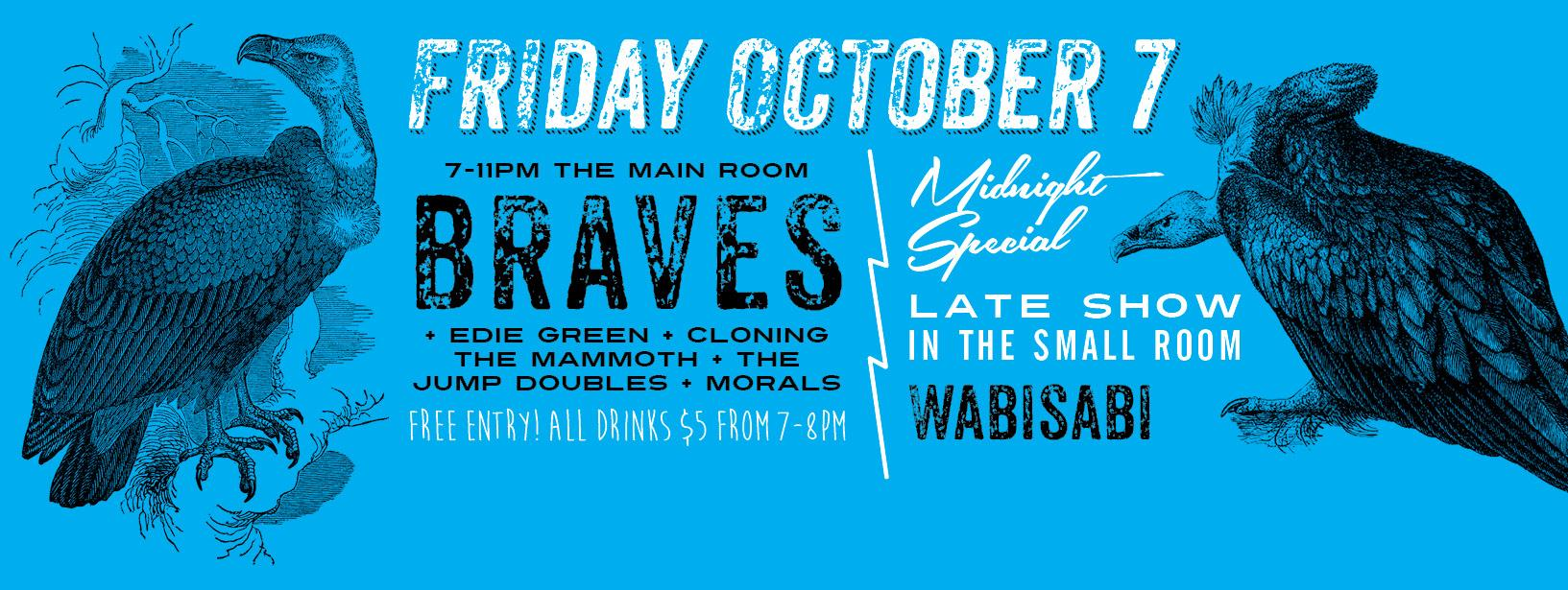 FREE show – Braves + Edie Green + Cloning the Mammoth + The Jump Doubles + Morals